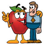 Clip art Graphic of a Red Apple Cartoon Character Talking to a Business Man