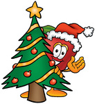 Clip art Graphic of a Red Apple Cartoon Character Waving and Standing by a Decorated Christmas Tree