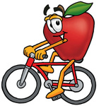 Clip art Graphic of a Red Apple Cartoon Character Riding a Bicycle