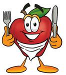 Clip art Graphic of a Red Apple Cartoon Character Holding a Knife and Fork