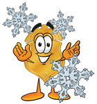 Clip art Graphic of a Gold Law Enforcement Police Badge Cartoon Character With Three Snowflakes in Winter