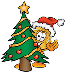 Clip art Graphic of a Gold Law Enforcement Police Badge Cartoon Character Waving and Standing by a Decorated Christmas Tree