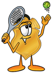 Clip art Graphic of a Gold Law Enforcement Police Badge Cartoon Character Preparing to Hit a Tennis Ball