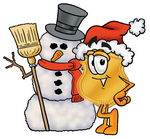 Clip art Graphic of a Gold Law Enforcement Police Badge Cartoon Character With a Snowman on Christmas