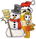 Clip art Graphic of a Construction Road Safety Barrel Cartoon Character With a Snowman on Christmas