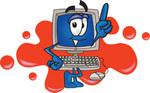Clip Art Graphic of a Desktop Computer Cartoon Character Logo With Red Paint Splatters