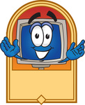 Clip Art Graphic of a Desktop Computer Cartoon Character Label