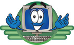 Clip Art Graphic of a Desktop Computer Cartoon Character Logo
