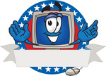 Clip Art Graphic of a Desktop Computer Cartoon Character Logo With Stars