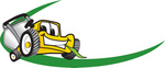Clip Art Graphic of a Yellow Lawn Mower Mascot Character Facing Forward, Chewing On A Blade Of Grass, With A Green Dash On A Logo