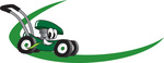 Clip Art Graphic of a Green Lawn Mower Mascot Character Chewing On A Blade Of Grass And Passing By On A Green Dash On A Logo