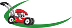 Clip Art Graphic of a Red Lawn Mower Mascot Character Chewing On A Blade Of Grass And Passing By On A Green Dash On A Logo