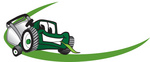 Clip Art Graphic of a Green Lawn Mower Mascot Character Chewing On A Blade Of Grass, With A Green Dash On A Logo