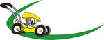Clip Art Graphic of a Yellow Lawn Mower Mascot Character Chewing On A Blade Of Grass And Passing By On A Green Dash On A Logo