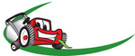 Clip Art Graphic of a Red Lawn Mower Mascot Character Facing Forward, Chewing On A Blade Of Grass, With A Green Dash On A Logo