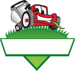 Clip Art Graphic of a Red Lawn Mower Mascot Character Facing Front And Chewing On A Blade Of Grass On Top Of A Grassy Hill In The Shape Of A Triangle With A Blank Label On A Logo