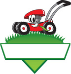 Clip Art Graphic of a Red Lawn Mower Mascot Character In Profile, Glancing As It Speeds Past While Chewing On A Blade Of Grass On Top Of A Grassy Hill In The Shape Of A Triangle With A Blank Label On A Logo