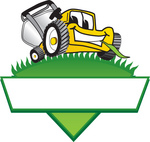 Clip Art Graphic of a Yellow Lawn Mower Mascot Character Facing Front And Chewing On A Blade Of Grass On Top Of A Grassy Hill In The Shape Of A Triangle With A Blank Label On A Logo