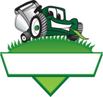 Clip Art Graphic of a Green Lawn Mower Mascot Character Facing Front And Chewing On A Blade Of Grass On Top Of A Grassy Hill In The Shape Of A Triangle With A Blank Label On A Logo