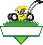 Clip Art Graphic of a Yellow Lawn Mower Mascot Character In Profile, Glancing As It Speeds Past While Chewing On A Blade Of Grass On Top Of A Grassy Hill In The Shape Of A Triangle With A Blank Label On A Logo