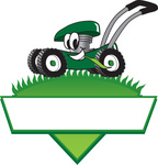 Clip Art Graphic of a Green Lawn Mower Mascot Character In Profile, Glancing As It Speeds Past While Chewing On A Blade Of Grass On Top Of A Grassy Hill In The Shape Of A Triangle With A Blank Label On A Logo