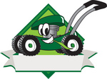 Clip Art Graphic of a Green Lawn Mower Mascot Character in Profile on a White Banner Logo