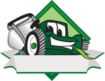 Clip Art Graphic of a Green Lawn Mower Mascot Character Facing Front of a White Banner Logo