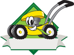 Clip Art Graphic of a Yellow Lawn Mower Mascot Character in Profile on a White Banner Logo