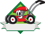 Clip Art Graphic of a Red Lawn Mower Mascot Character in Profile on a White Banner Logo