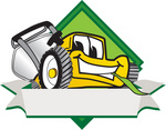 Clip Art Graphic of a Yellow Lawn Mower Mascot Character Facing Front of a White Banner Logo