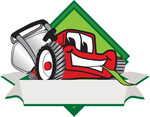 Clip Art Graphic of a Red Lawn Mower Mascot Character Facing Front of a White Banner Logo