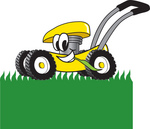 Clip Art Graphic of a Yellow Lawn Mower Mascot Character Chewing on Grass and Mowing a Lawn