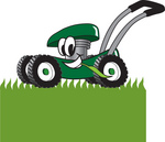 Clip Art Graphic of a Green Lawn Mower Mascot Character Chewing on Grass and Mowing a Lawn