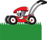 Clip Art Graphic of a Red Lawn Mower Mascot Character Chewing on Grass and Mowing a Lawn