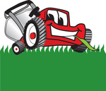 Clip Art Graphic of a Red Lawn Mower Mascot Character Facing Front and Eating a Blade of Grass While Mowing a Lawn