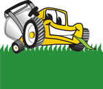 Clip Art Graphic of a Yellow Lawn Mower Mascot Character Facing Front and Eating a Blade of Grass While Mowing a Lawn