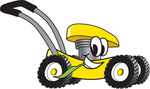 Clip Art Graphic of a Yellow Lawn Mower Mascot Character Glancing While Passing by and Chewing on a Blade of Grass
