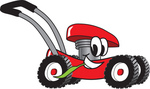 Clip Art Graphic of a Red Lawn Mower Mascot Character Glancing While Passing by and Chewing on a Blade of Grass