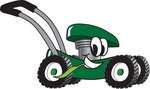 Clip Art Graphic of a Green Lawn Mower Mascot Character Glancing While Passing by and Chewing on a Blade of Grass