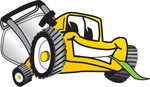 Clip Art Graphic of a Yellow Lawn Mower Mascot Character Smiling While Chewing on a Blade of Grass