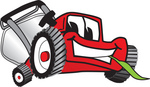 Clip Art Graphic of a Red Lawn Mower Mascot Character Smiling While Chewing on a Blade of Grass