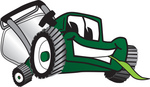 Clip Art Graphic of a Green Lawn Mower Mascot Character Smiling While Chewing on a Blade of Grass
