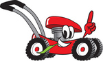 Clip Art Graphic of a Red Lawn Mower Mascot Character Glancing While Passing by, Chewing on Grass and Pointing Upwards