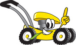 Clip Art Graphic of a Yellow Lawn Mower Mascot Character Glancing While Passing by, Chewing on Grass and Pointing Upwards