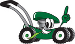 Clip Art Graphic of a Green Lawn Mower Mascot Character Glancing While Passing by, Chewing on Grass and Pointing Upwards