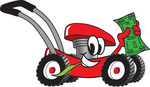 Clip Art Graphic of a Red Lawn Mower Mascot Character Chewing on a Blade of Grass and Holding up a Dollar Bill While Passing by