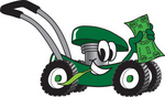 Clip Art Graphic of a Green Lawn Mower Mascot Character Chewing on a Blade of Grass and Holding up a Dollar Bill While Passing by