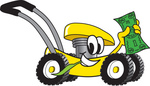 Clip Art Graphic of a Yellow Lawn Mower Mascot Character Chewing on a Blade of Grass and Holding up a Dollar Bill While Passing by