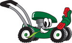 Clip Art Graphic of a Green Lawn Mower Mascot Character Chewing on a Blade of Grass and Holding a Red Phone While Passing by