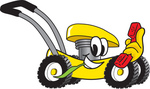 Clip Art Graphic of a Yellow Lawn Mower Mascot Character Chewing on a Blade of Grass and Holding a Red Phone While Passing by
